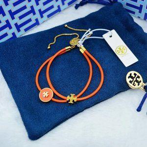 Tory Burch Orange Kira Enameled Slider Bracelet